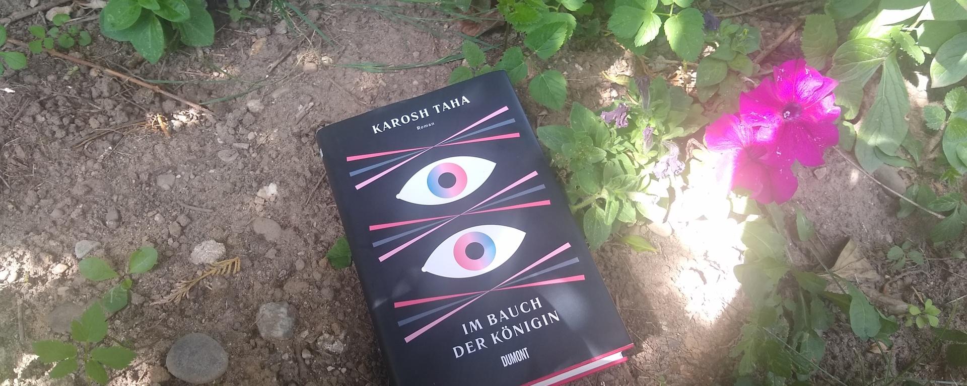 """Buch """"Im Bauch der Königin"""" im Blumenbeet"""